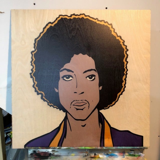 "Image of Prince on Wood - 24"" Birch Panel"