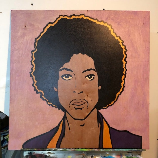 "Image of Prince on Wood - 24"" Purple Birch Panel"