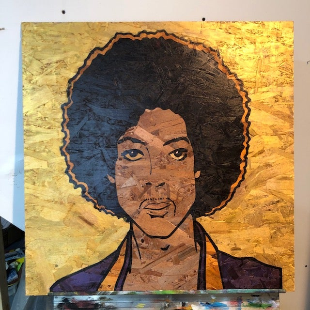 "Image of Prince on Wood - 24"" Gold Particle Wood Panel"