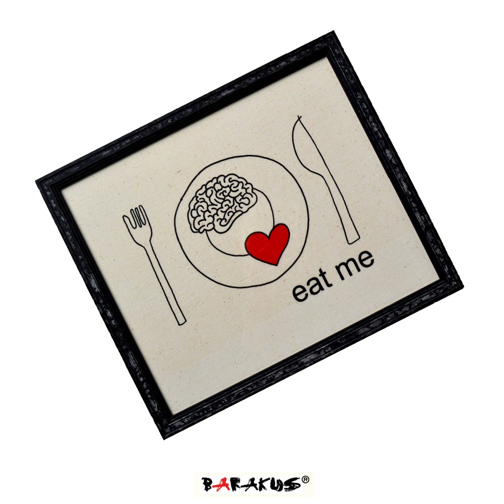 Image of EAT ME TEXTILED PAINTING