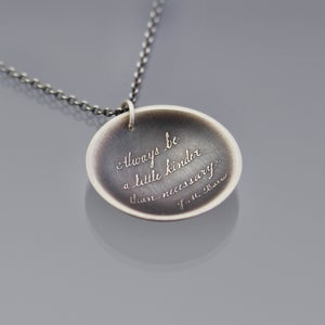 Image of Sterling Silver Be Kinder Quote Necklace