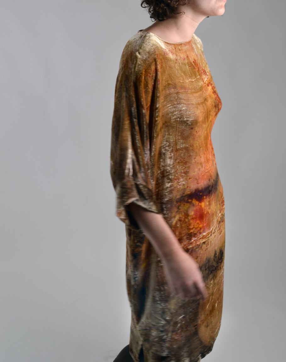 Image of sunset velvet underground dress.