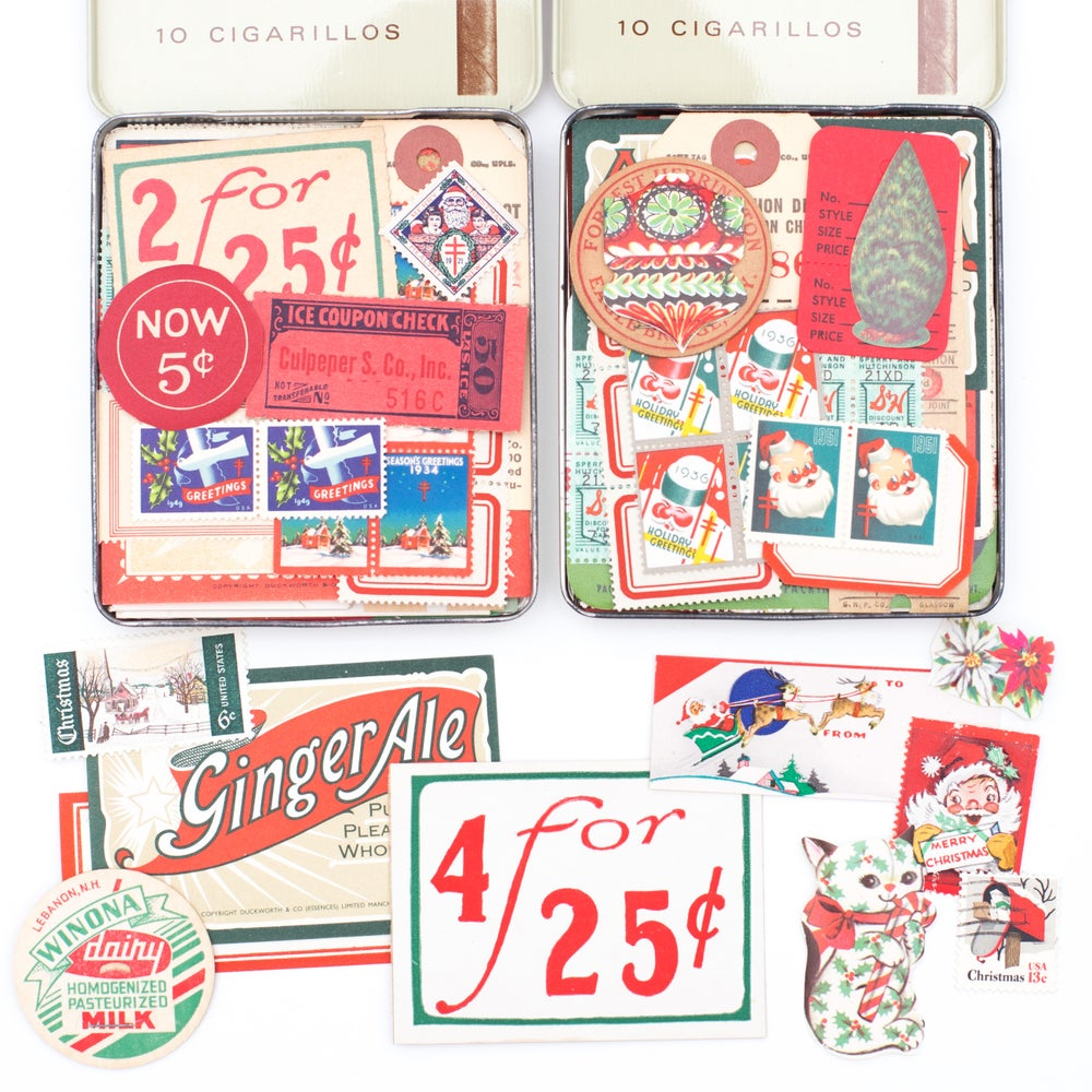 Image of Cigarette Tin with Christmas Ephemera