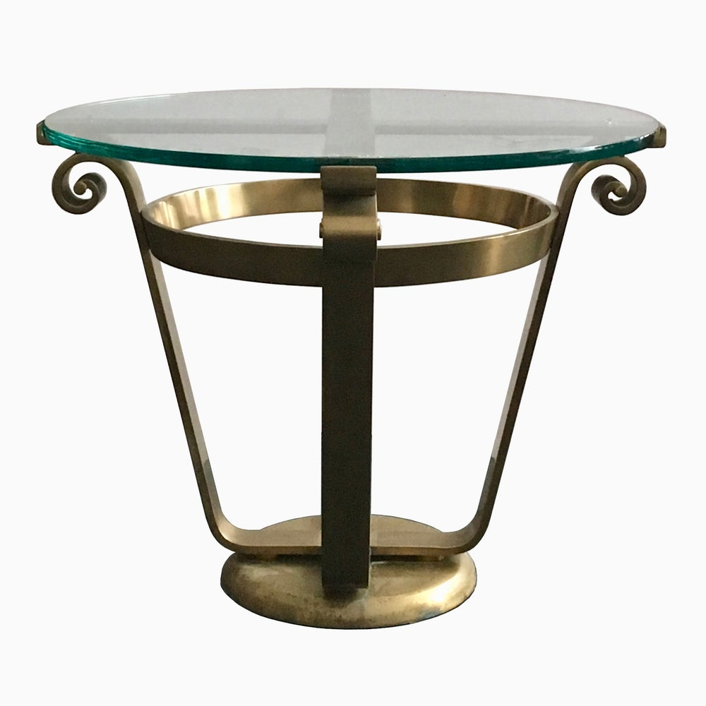 Image of Brass and Glass Side Table in Art Deco Style, 20th Century European