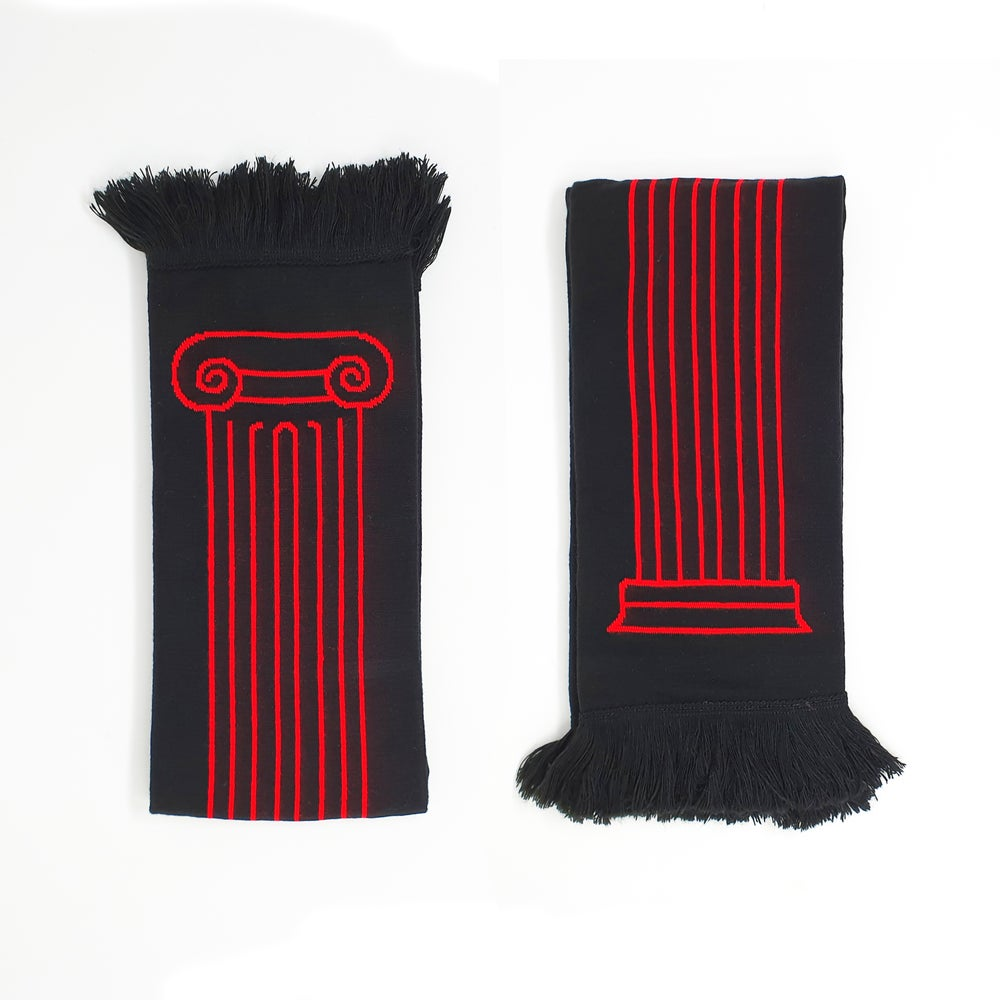 Image of Column Scarf - Red on Black