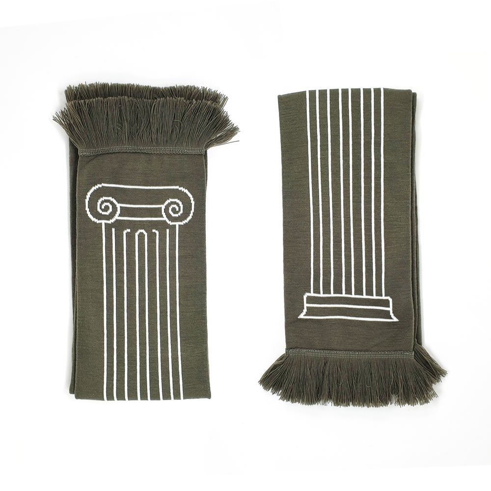 Image of Column Scarf - White on Grey
