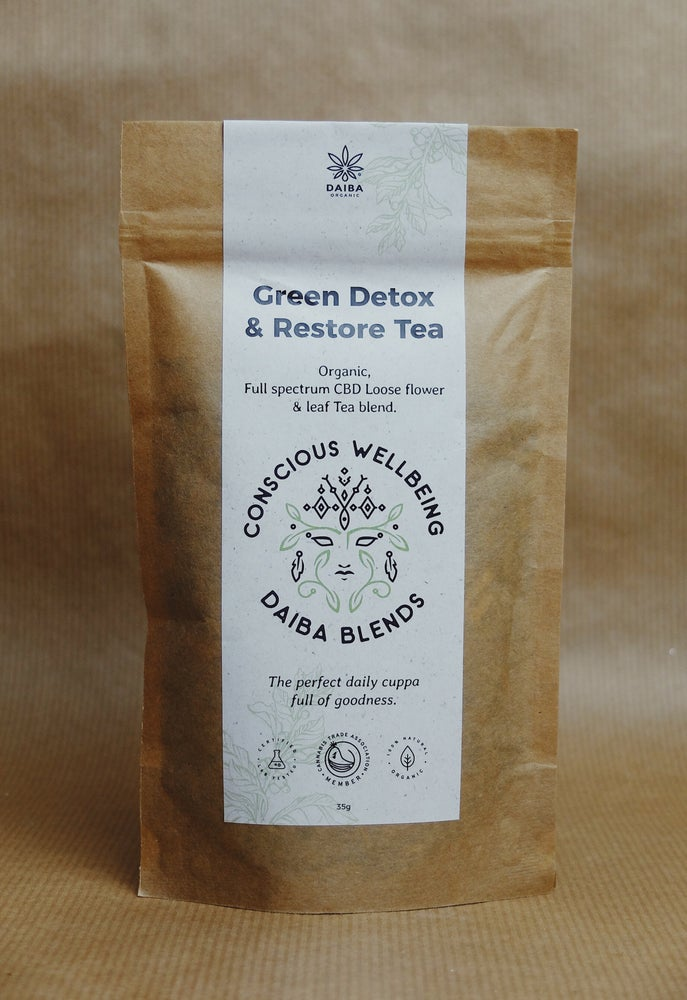 Image of Organic Green Detox & Restore Tea with Full Spectrum CBD