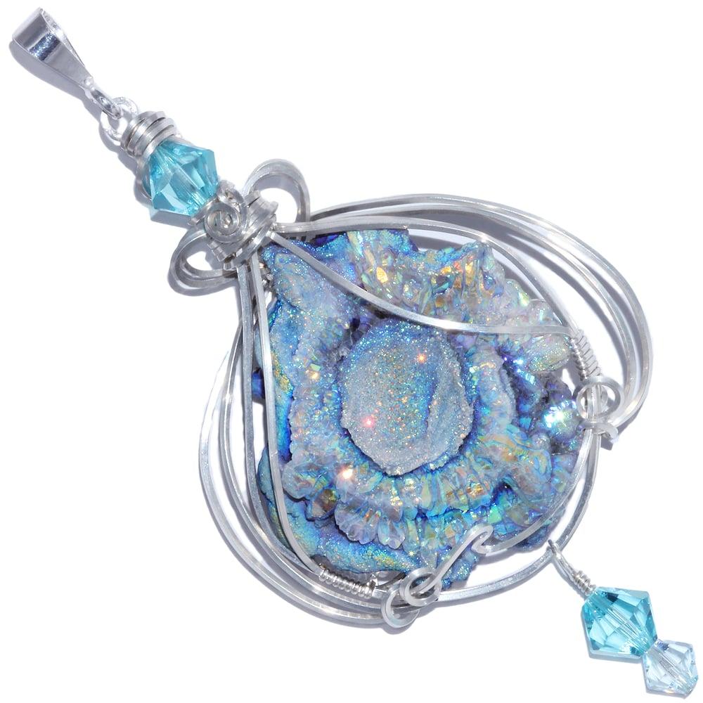 Image of Fairy Aura Chalcedony Rosette Sterling Handmade Pendant