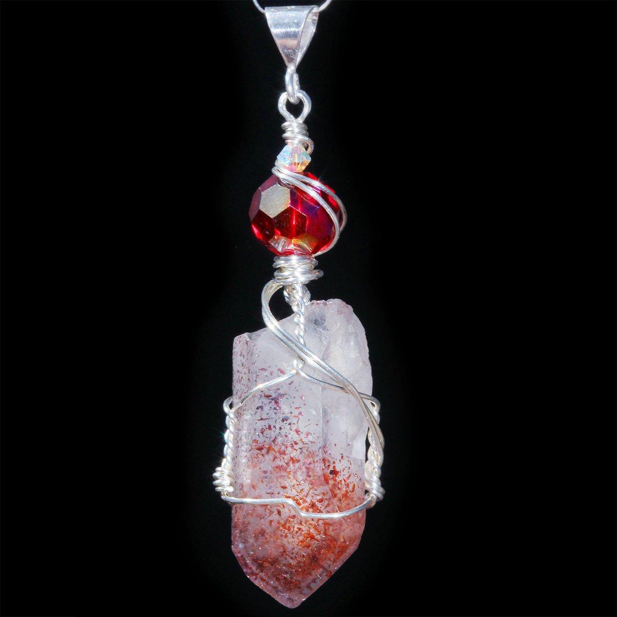 Harlequin Fire Quartz Crystal Handmade Pendant