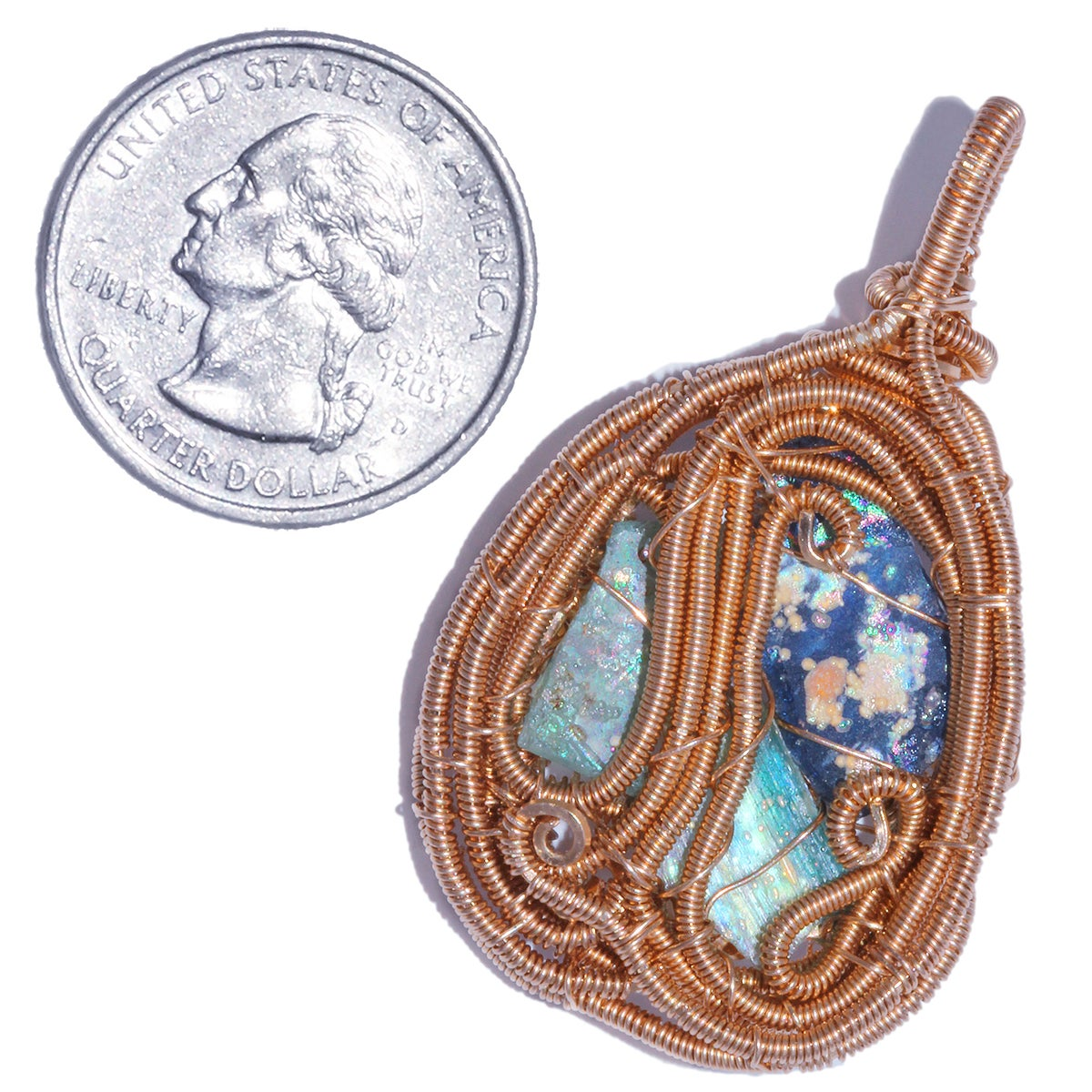 Roman Glass Woven Wire Wrapped Pendant