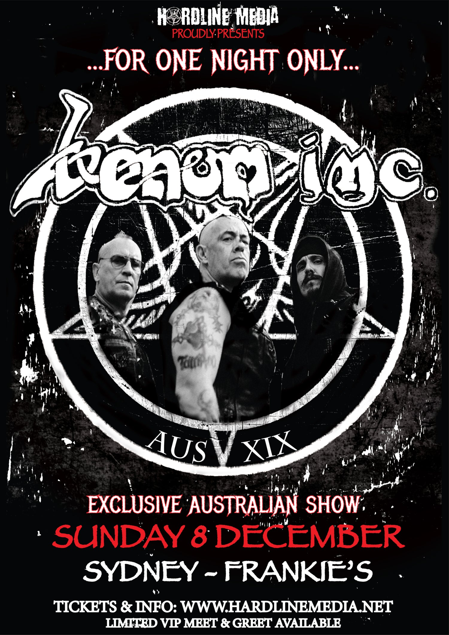 Image of VIP TICKET - VENOM INC - SYDNEY, FRANKIE'S - SUN 8 DEC
