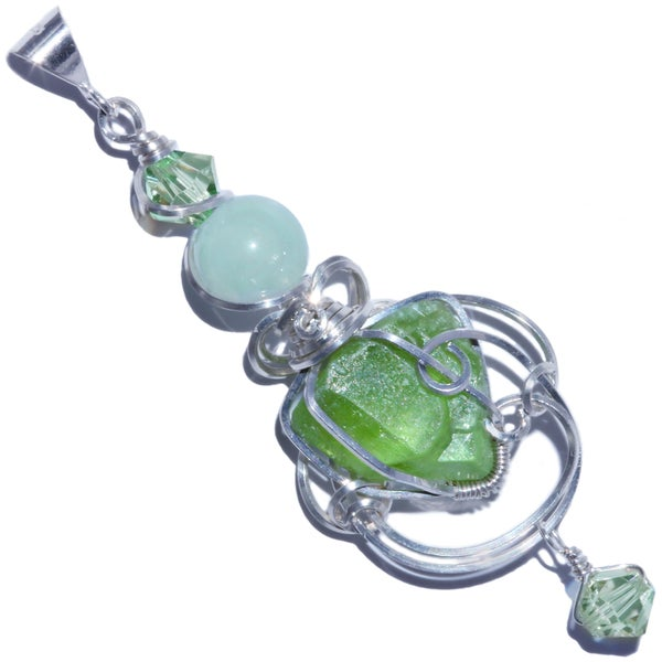 Image of Terminated Peridot Cathedral Crystal Handmade Pendant