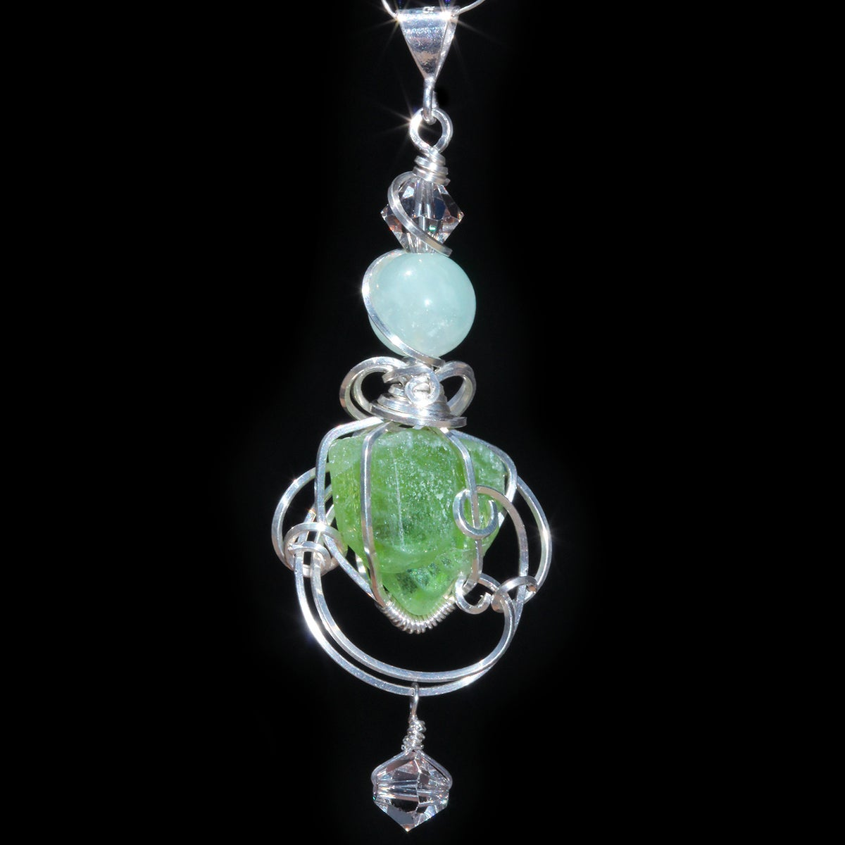 Terminated Peridot Cathedral Crystal Handmade Pendant