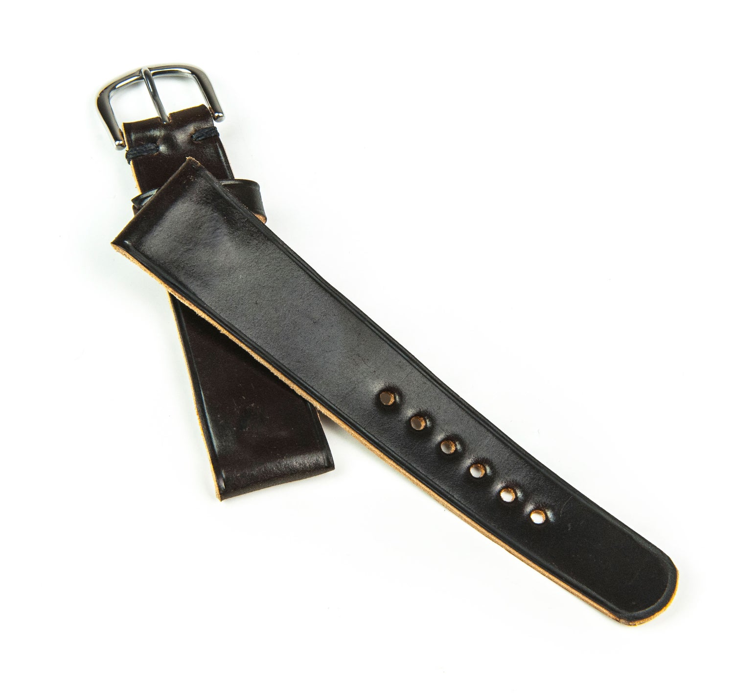 Image of Dark Cognac Horween Shell Cordovan classic watch strap