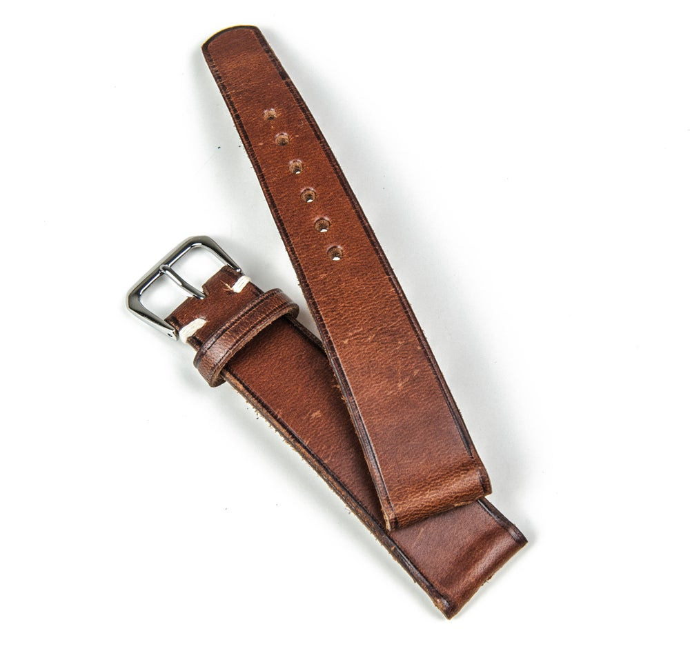 """Image of Heritage calfskin """"burnished brown"""" watch strap //"""