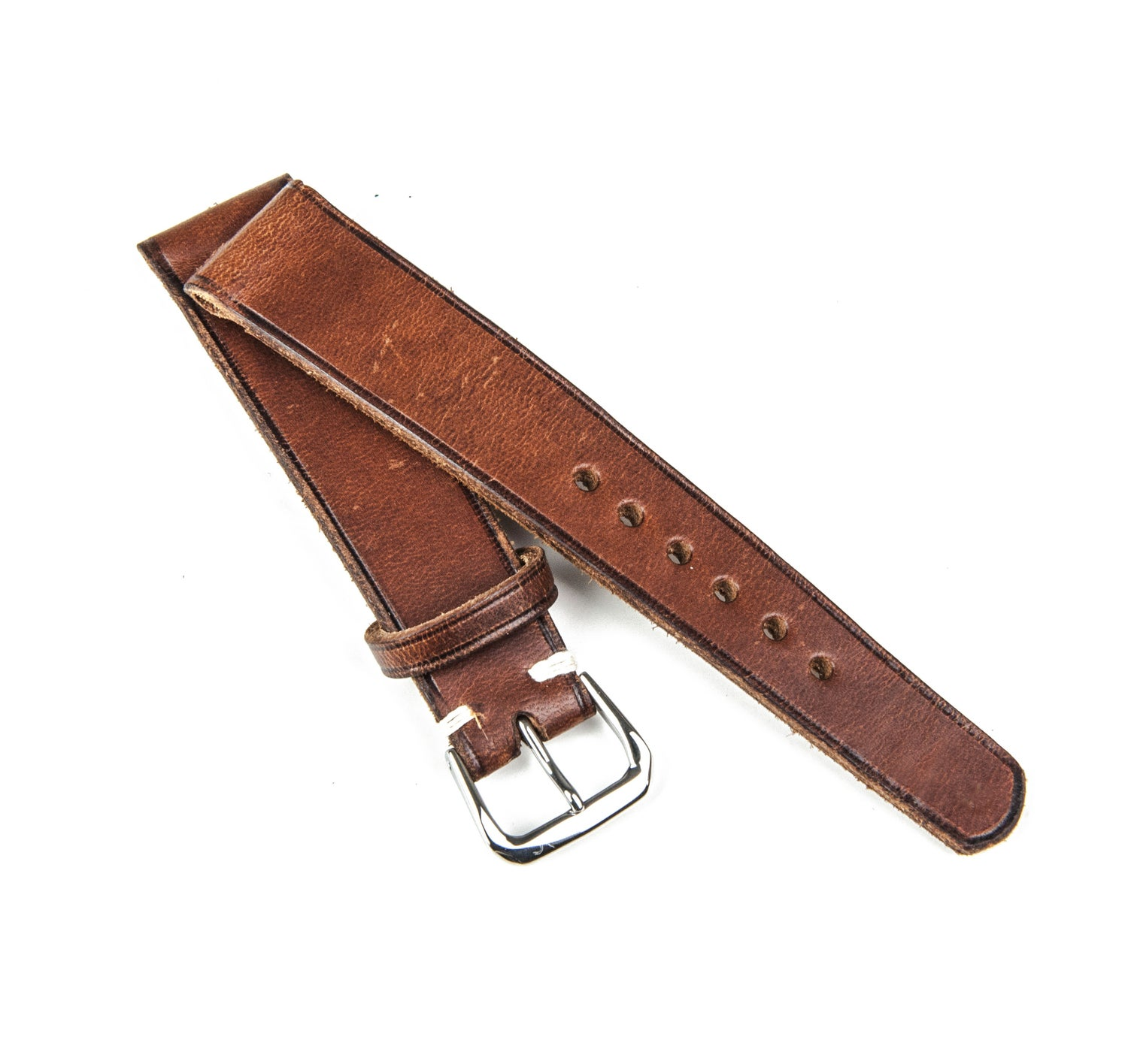 "Image of Heritage calfskin ""burnished brown"" watch strap //"