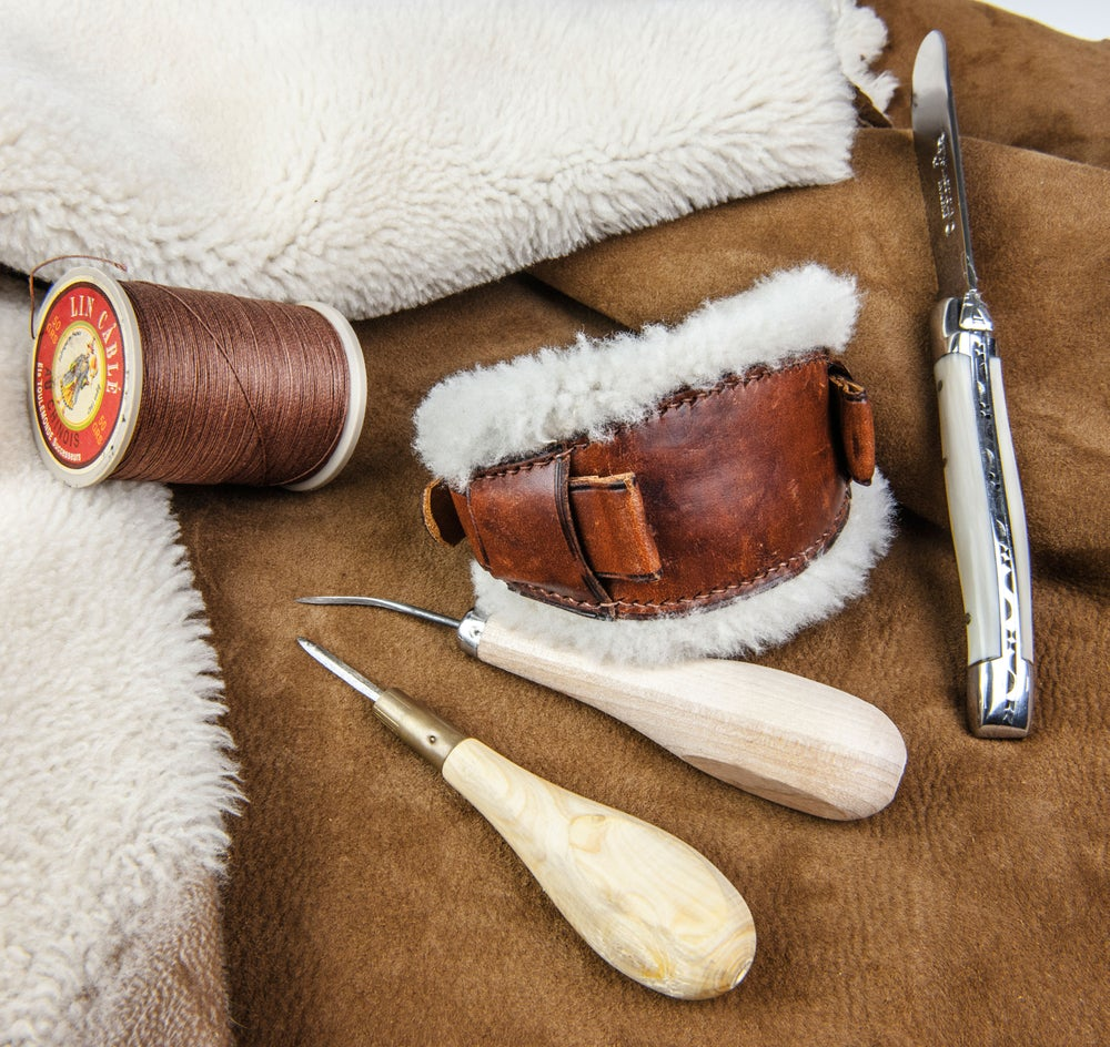 "Image of ""Gstaad"" Shearling Bundeswehr strap with vintage calfskin"