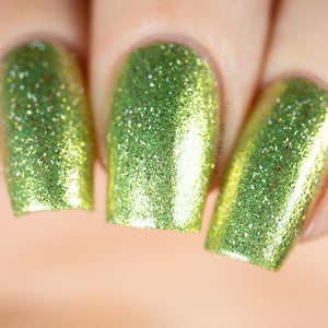 Image of Mistletoe Kiss a metallic foil in a bright peridot green with silver flakes and holo flakes