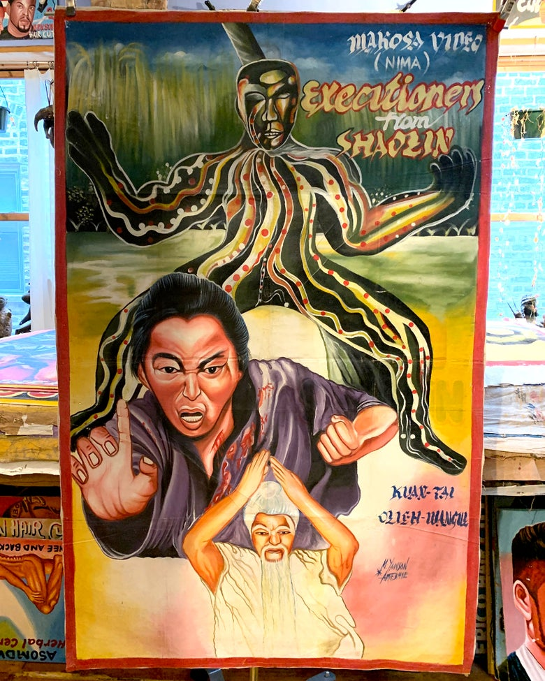 Image of Deadly Prey - 'Executioners From Shaolin'. Hand painted movie poster from Ghana