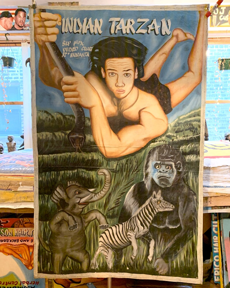 Image of Deadly Prey - 'Indian Tarzan'. Hand painted movie poster from Ghana