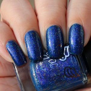 Image of I've got Gifts? royal blue base, blue aurora shimmer & UCC flakes in gold-bronze-silver & gold