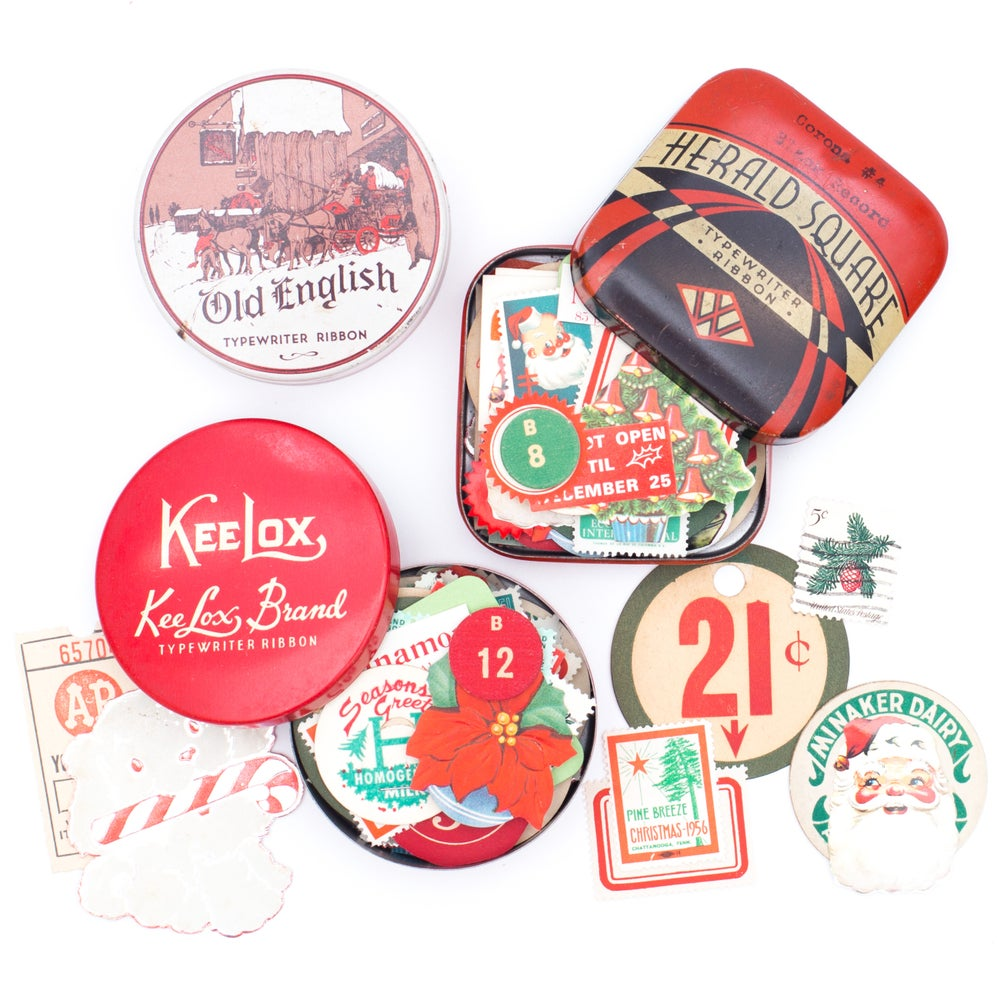 Image of Typewriter Tin with Christmas Ephemera