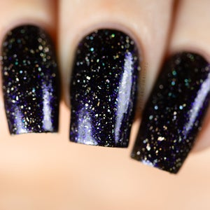 Image of Merry Christmas Hermione black base with a gorgeous deep blue to purple aurora shimmer holo glitter