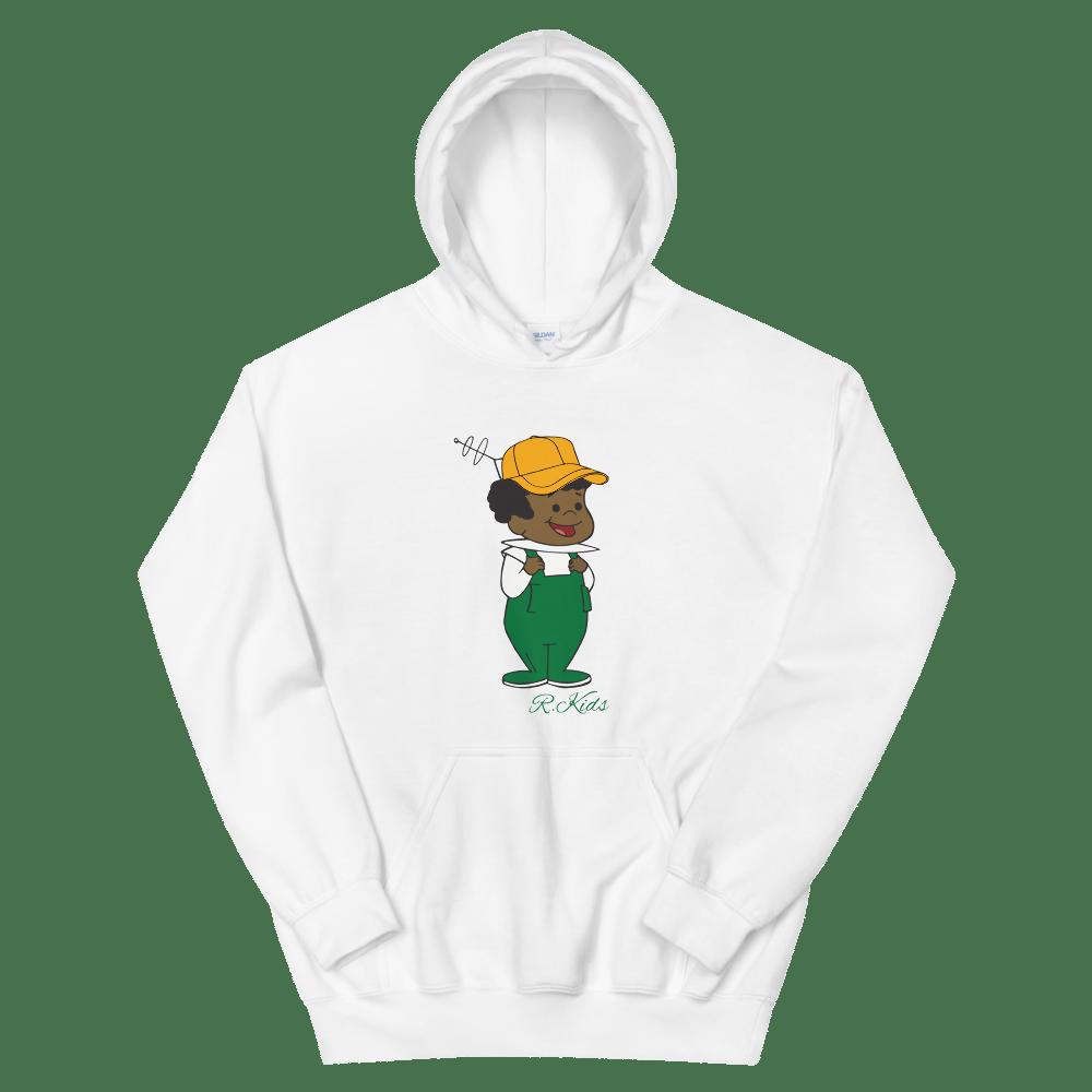 Image of Green Rowdy White Hoodie