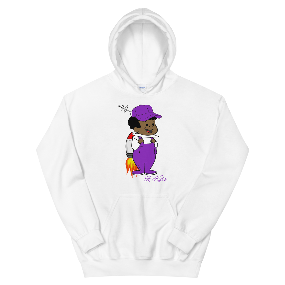 Image of Purple Rowdy White Hoodie