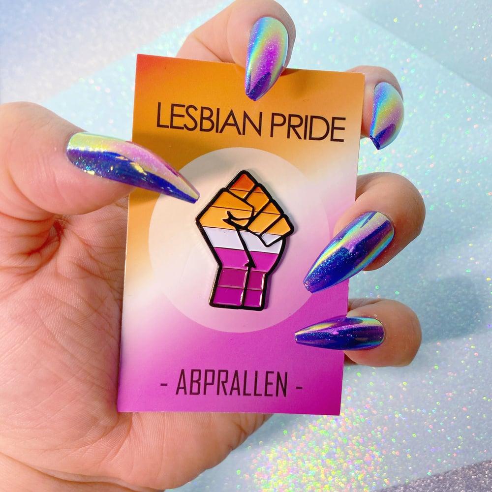Image of Lesbian Pride Orange & Pink Enamel Pin