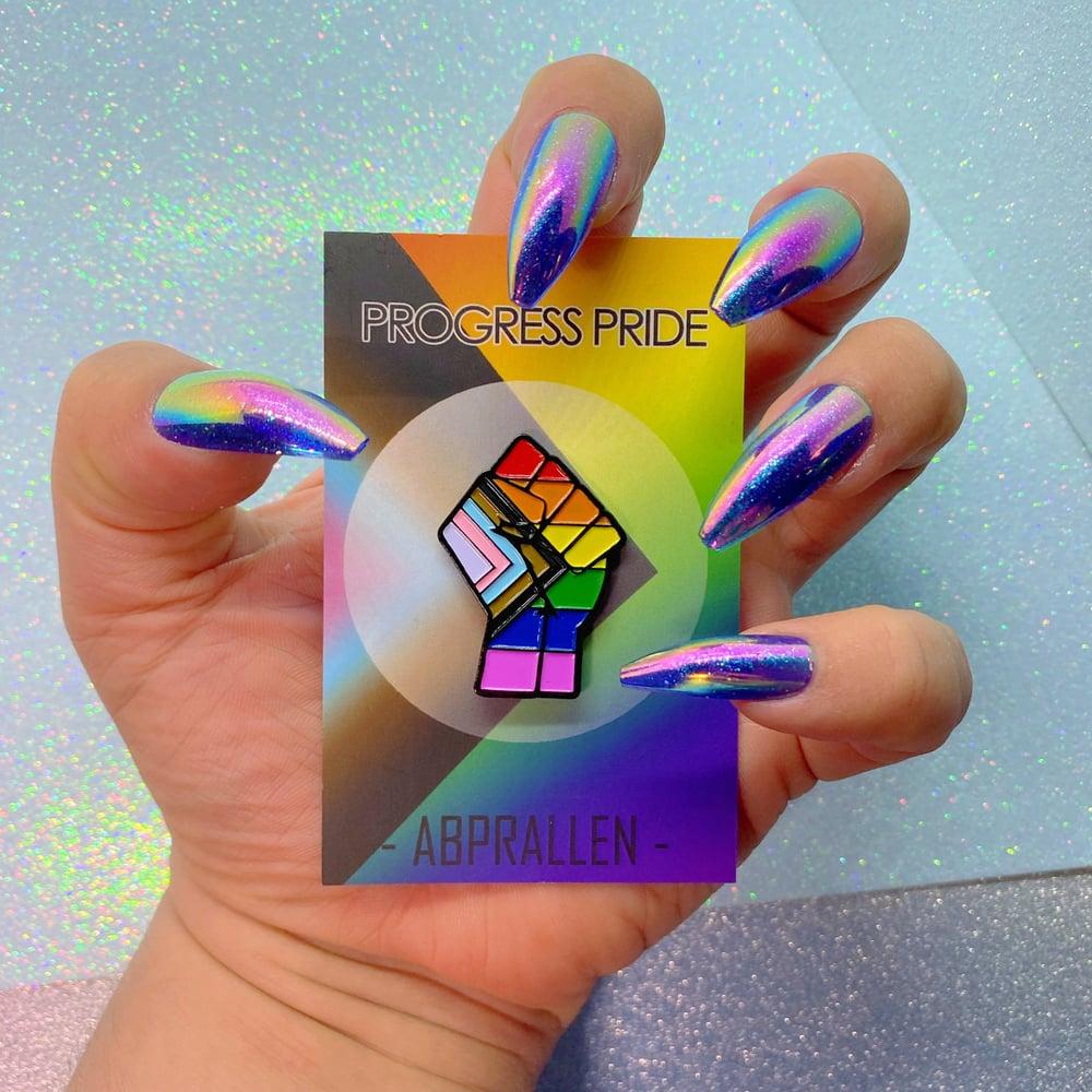 Image of Progress Pride Flag Enamel Pin