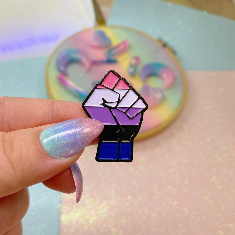 Image of Genderfluid Pride Flag Enamel Pin
