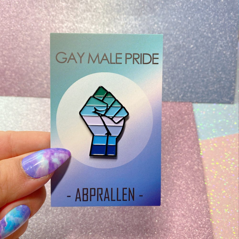 Image of Gay Male Pride Flag Enamel Pin
