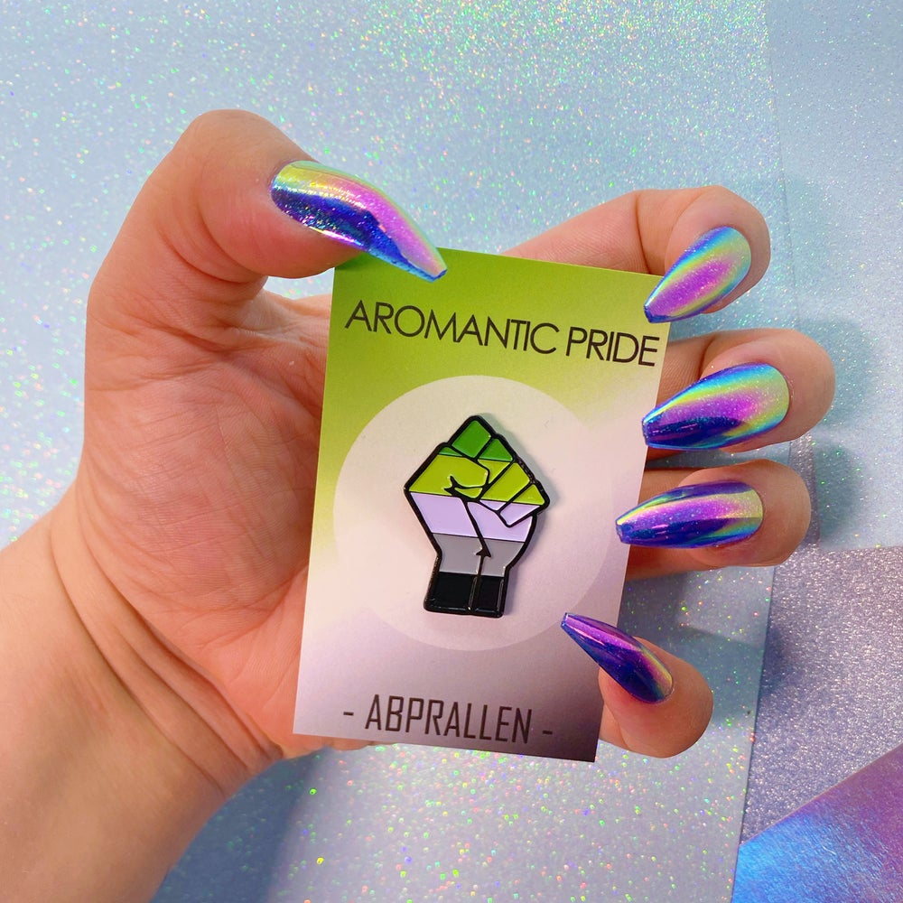 Image of Aromantic Pride Flag Enamel Pin