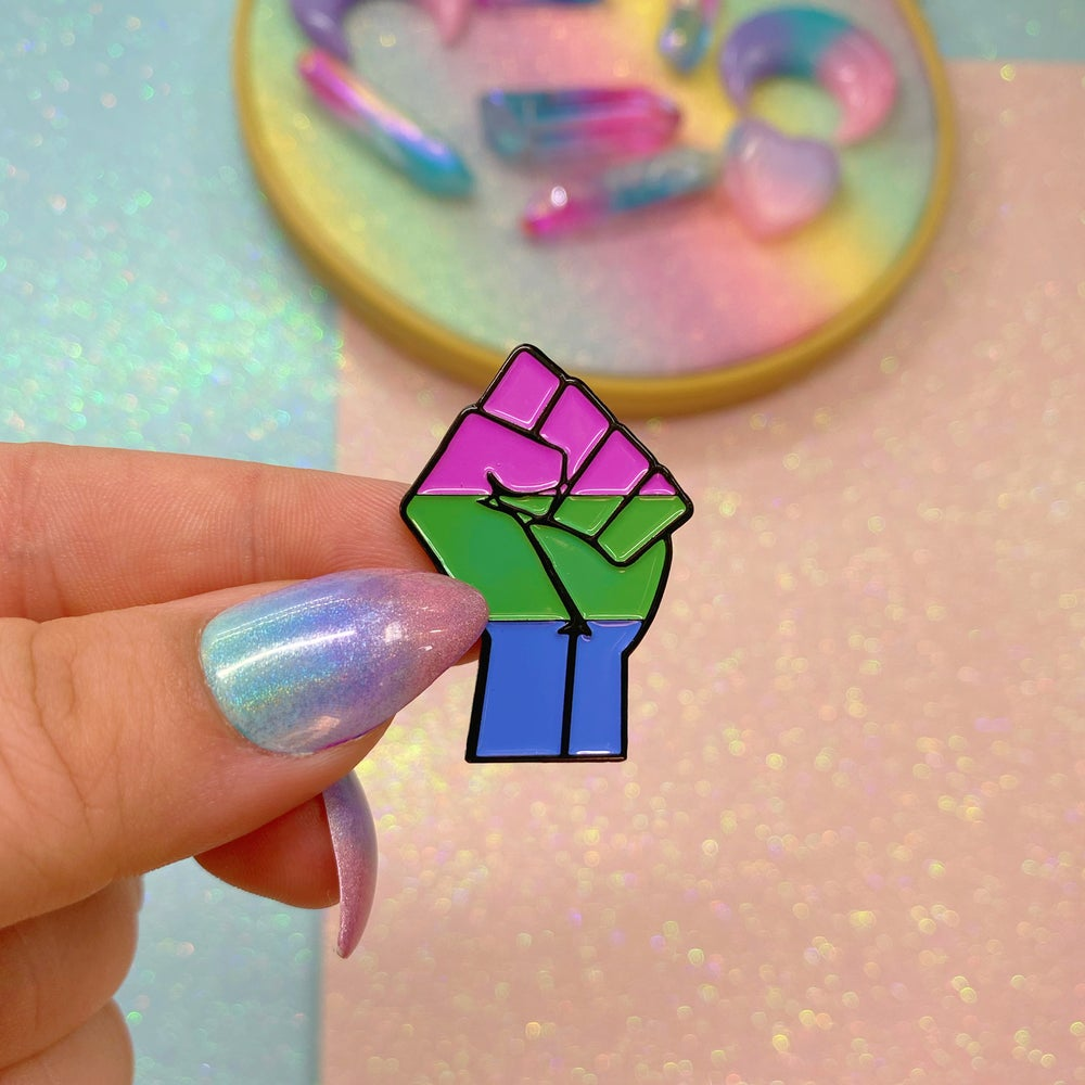 Image of Polysexual Pride Flag Enamel Pin