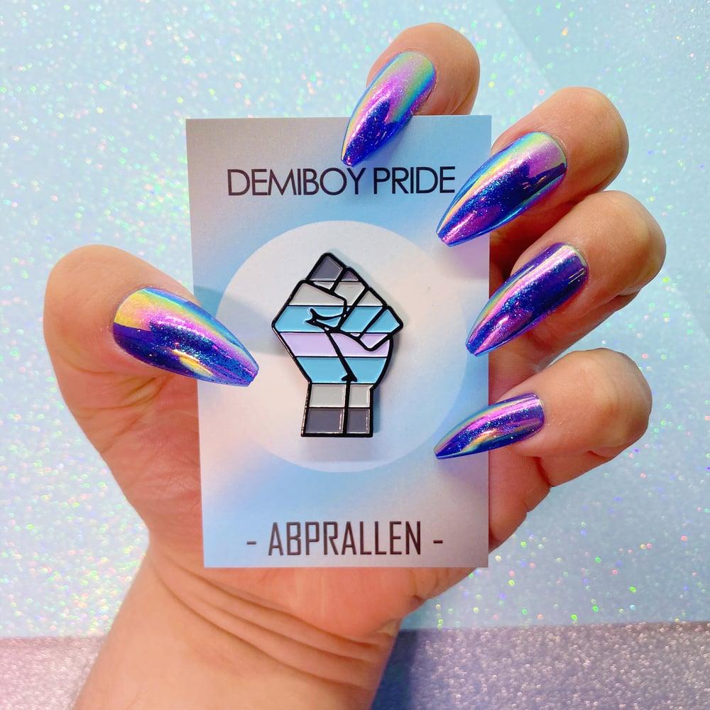 Image of Demiboy Pride Flag Enamel Pin