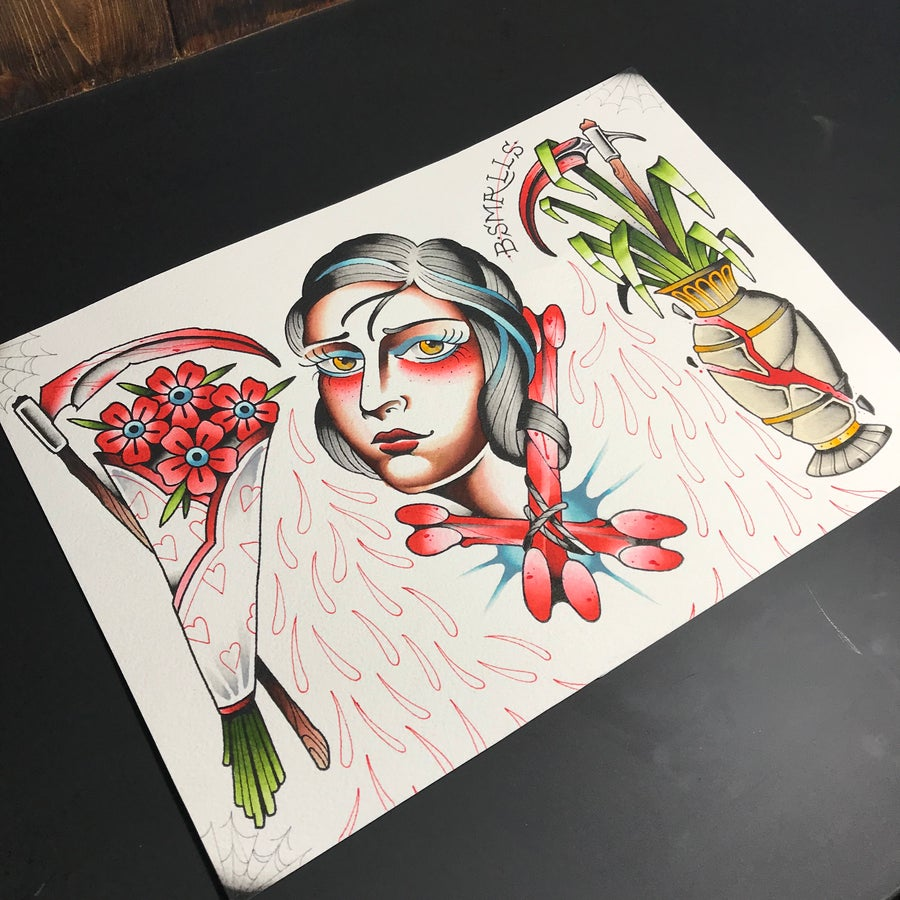 Image of ORIGINAL flowers and scythes print by Benny smalls
