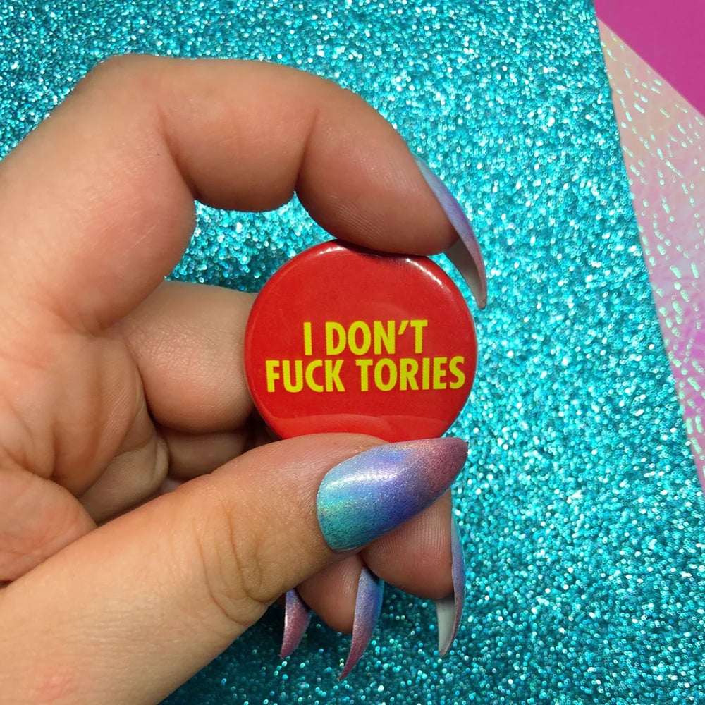 Image of I Don't Fuck Tories Button Badge
