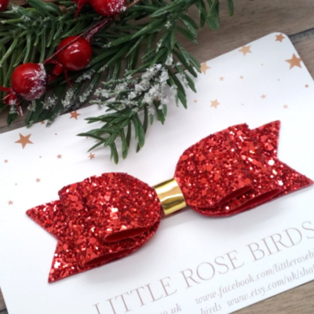 Image of Large Red Glitter Hair Bow on Headband or Clip