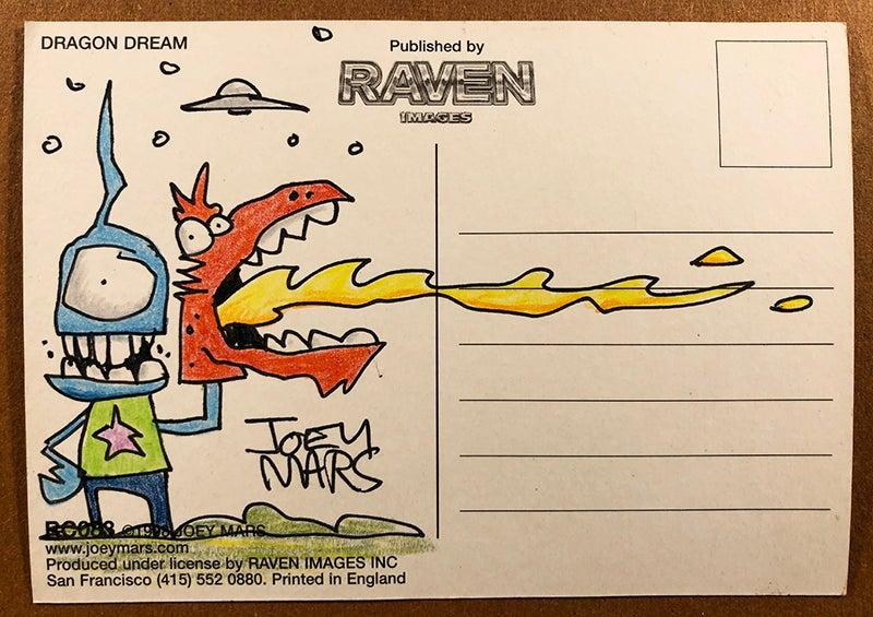 Image of Vintage Dragon Dream postcard with original drawing on the back
