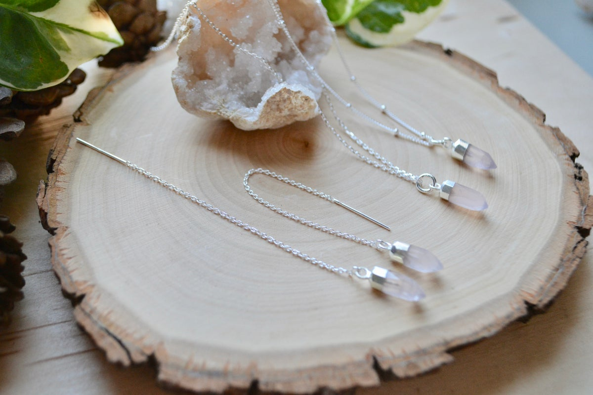Image of Rose quartz point necklace and matching earrings