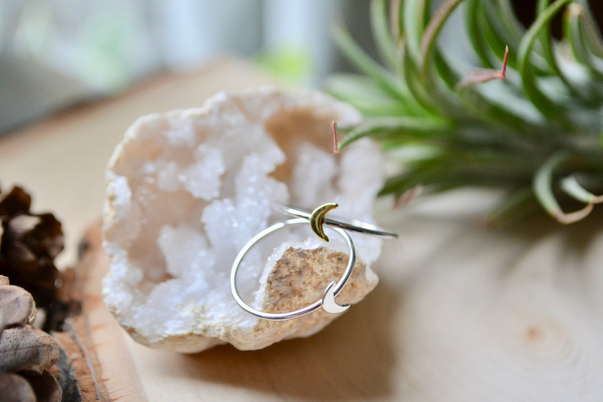 Image of Petite bronze and sterling or all sterling silver moon ring