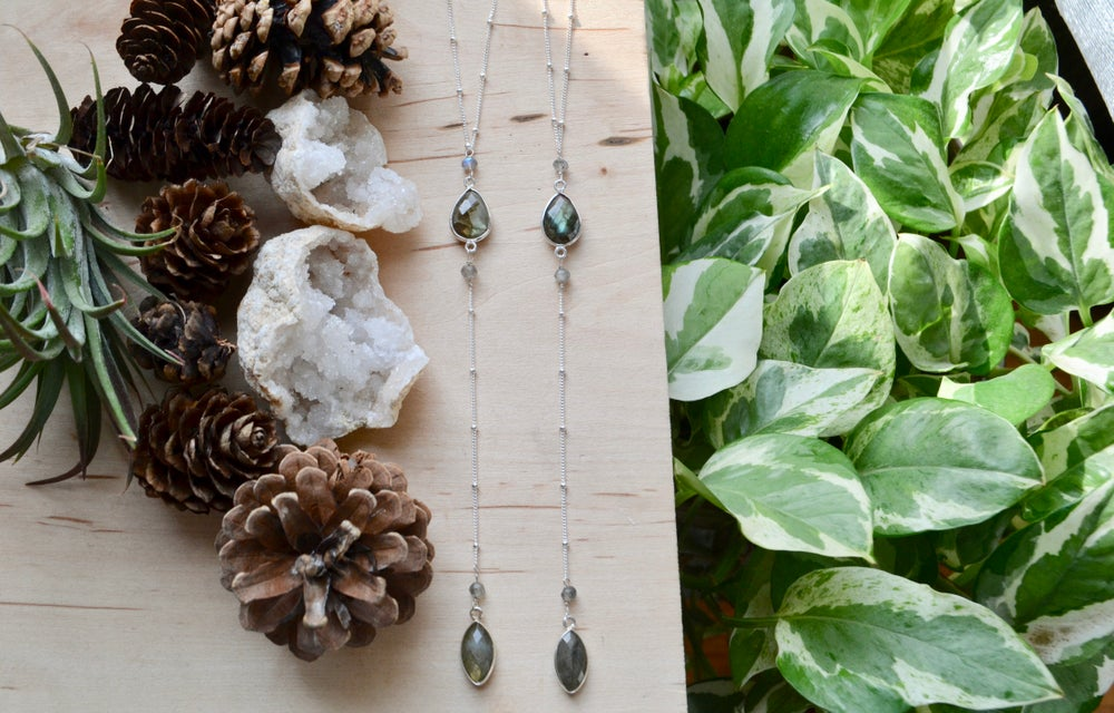 Image of Labradorite droplet necklace