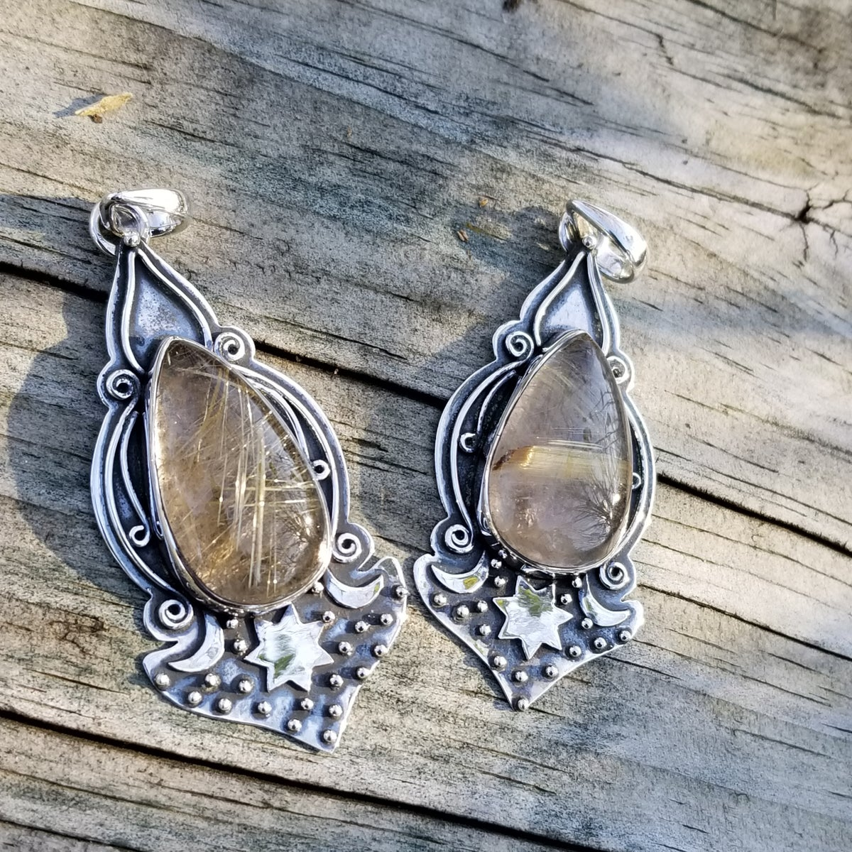 Image of Romany Pendant Collection - Golden Rutile in Sterling