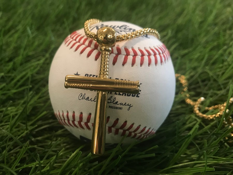 Image of Baseball Cross Necklaces - Gold, Silver, Black