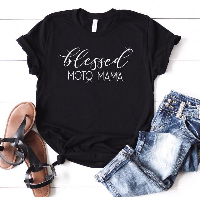 Image of Black Blessed Moto Mama Tee Shirt
