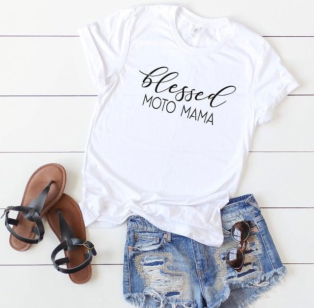 Image of White Blessed Moto Mama Tee