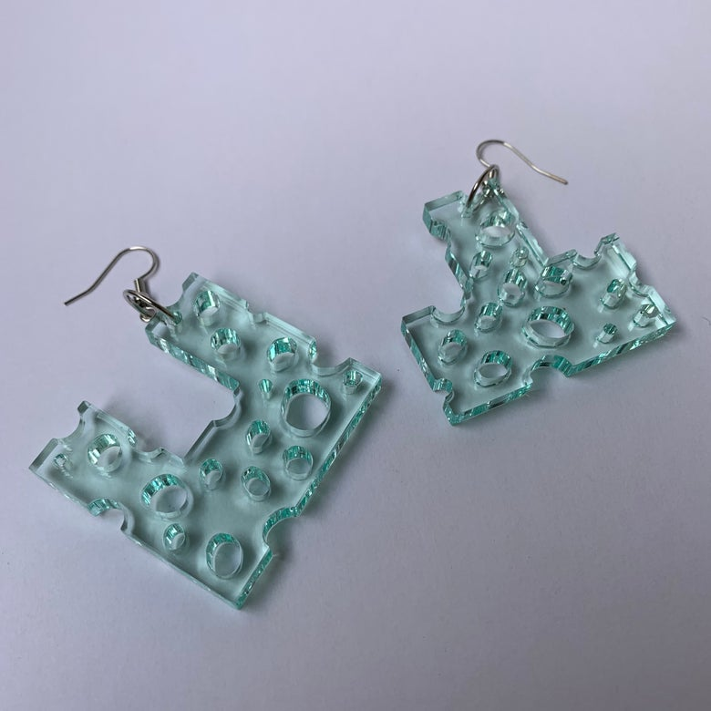 "Image of Black Friday 60% OFF! Lactose x Chamu Boy Sheer Blue ""Over Under"" Geometric Cheese Earring Set"