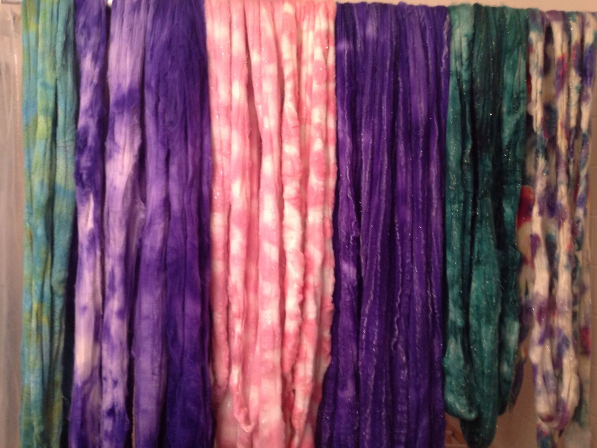 Image of Surprise Grab Bag, Handdyed Wool Fiber spinning batts felting - 6 oz
