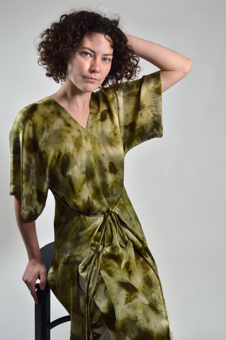 Image of Deep Forrest kimono wrap dress